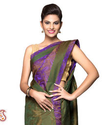 Buy A Unique Purple Green Resham Jacquard Saree gifts-for-mom online