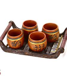 Buy Set of 4 Terracotta Tumbler with Tribal Motifs and Tray gifts-for-mom online