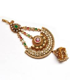 Buy Anvi's jhumar with emerald, rubies, uncut stones and pearls hair-accessory online