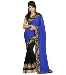 Buy Blue & Black embroidered georgette saree with blouse party-wear-saree online