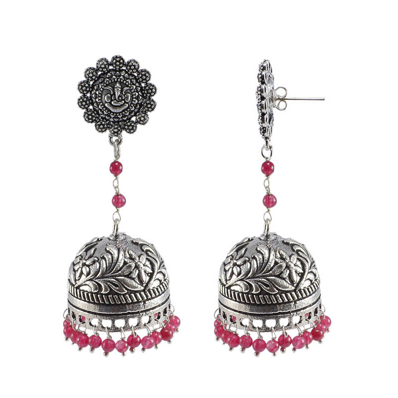 Buy Ethnic Oxidized JewelleryDanglers With Ganesha Studs And Pink Beads Large Jhumka Earrings Online