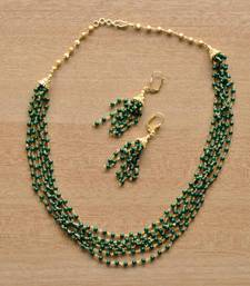 Buy Layered Jade Green Mala & Earring - 6 Line necklace-set online
