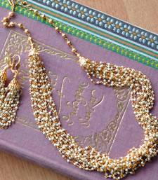 Buy Layered Faux Pearl Mala & Earring - 12 Line necklace-set online