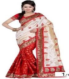 Buy Red & Cream Color embroidered georgette saree with blouse party-wear-saree online