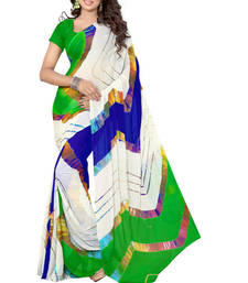 Buy White hand woven jacquard saree with blouse jacquard-saree online