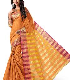 Buy Coral plain tussar silk saree with blouse tussar-silk-saree online