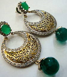 ANTIQUE VICTORIAN GREEN PEARLS CHAND BALI  shop online