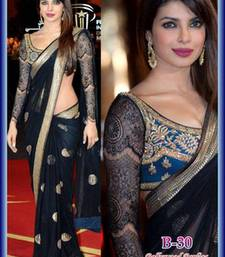 Buy Priyanka chopra bollywood black net saree priyanka-chopra-saree online