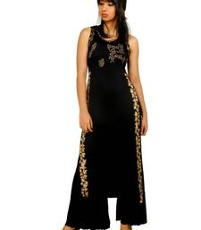 Buy  kukn114 Black Viscose Long Slit Kurti kurtas-and-kurti online