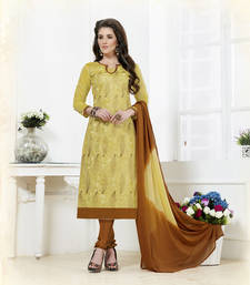 Buy Beige embroidered chanderi unstitched salwar with dupatta dress-material online
