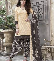 Buy Cream printed cotton salwar dress-material online