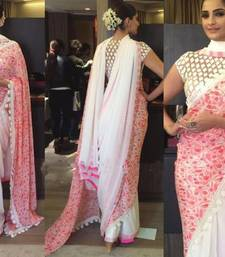 Buy Pink embroidered georgette saree with blouse sonam-kapoor-saree online