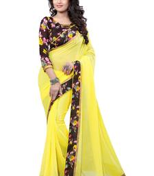 Buy Yellow printed georgette saree with blouse Saree online