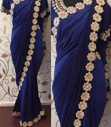 Buy Dark blue embroidered georgette saree south-indian-saree online