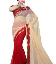 Buy Cream and Red Color Faux Georgette Designer Saree With Blouse georgette-saree online