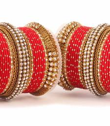 Buy Traditional red bridal bangle set for two hands bangles-and-bracelet online