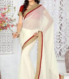 Buy Shimmering Off White Color Faux Georgette Saree With Blouse georgette-saree online