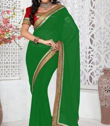 Buy Shiny Bottle Green Color Faux Georgette Saree With Blouse georgette-saree online