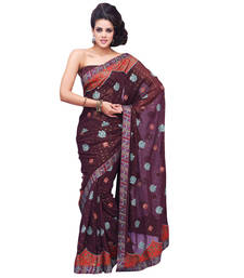 Buy Coffee embroidered georgette saree with blouse georgette-saree online