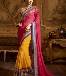 Buy Yellow and pink embroidery geogrette saree with blouse bridal-saree online
