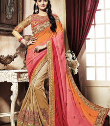 Buy Multicolor Embroidery Geogrette saree with blouse heavy-work-saree online