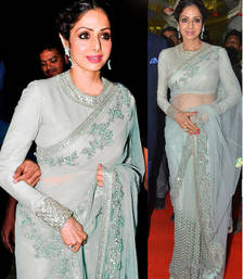 Buy Grey embroidered net saree with blouse sridevi-saree online