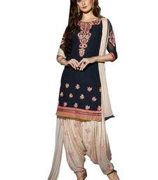 Buy Blue embroidered georgette unstitched salwar with dupatta patiala-salwar online