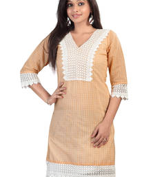 Buy Beautiful Cream V-neck Chanderi Cotton Kurti kurtas-and-kurti online