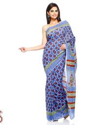 Buy Majorelle Blue, Purple Block Printed Pure Cotton Saree cotton-saree online