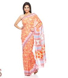 Buy Tropical Floral Print Pure Cotton Saree in Flame Red and Orange cotton-saree online