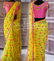 Buy Yellow embroidered georgette saree with blouse georgette-saree online
