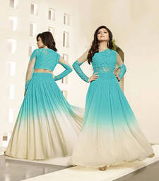 Buy Sky blue and cream net and georgette semi stitiched salwar with dupatta semi-stitched-salwar-suit online