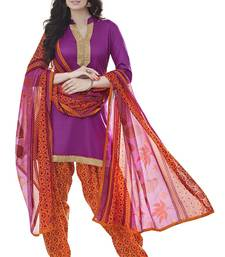 Buy purple embroidered cotton poly salwar with dupatta patiala-salwar online