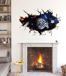 Buy 3D Astronauts in Outer Space' Wall Sticker (60 cm X 90 cm) wall-decal online
