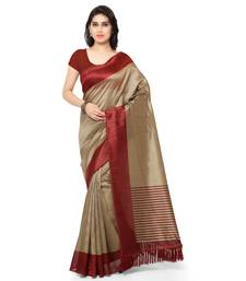 Buy Beige printed art silk saree with blouse art-silk-saree online
