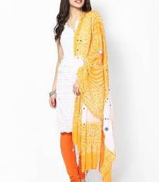 Buy Nice Yellow White Cotton Bandhej Dupatta stole-and-dupatta online