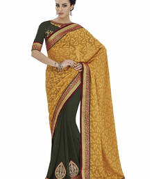 Buy Yellow embroidered jacquard saree with blouse jacquard-saree online
