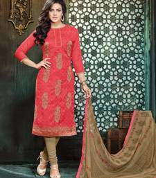 Buy Dark pink embroidered jacquard unstitched salwar with dupatta dress-material online