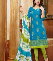 Buy Blue embroidered jacquard unstitched salwar with dupatta dress-material online