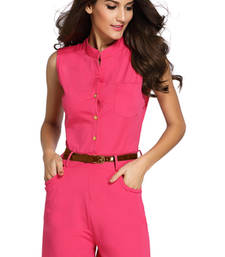 Buy Pink Polyester and Spandex sexy sleepwear tunic online