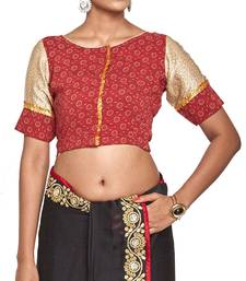 Buy Red pure crepe readymade blouse readymade-blouse online