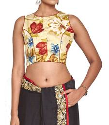 Buy Peach multicolor raw silk readymade blouse readymade-blouse online