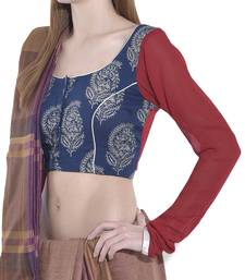 Buy Red and blue pure ggt readymade blouse readymade-blouse online
