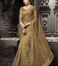 Buy Gold embroidered chiffon saree with blouse heavy-work-saree online