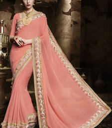 Buy Light peach embroidered georgette saree with blouse heavy-work-saree online