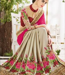 Buy Red And pink embroidered georgette saree With Blouse bridal-saree online