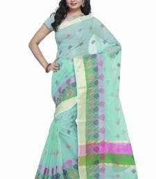Buy Turquoise embroidered kota silk saree with blouse kota-silk-saree online
