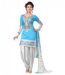 Buy Blue embroidered chanderi unstitched salwar with dupatta patiala-salwar online