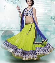 Buy Wonderful Green and Blue Net Lehenga Choli with Resham Embroidery work lehenga-choli online