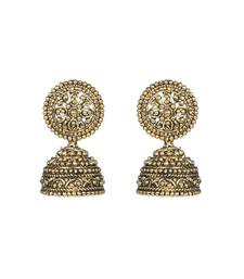 Buy Golden Metal Oxidised Jhumka Earrings jhumka online